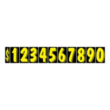 """7 1/2"""" Yellow on Black Windshield Numbers DVT358"""