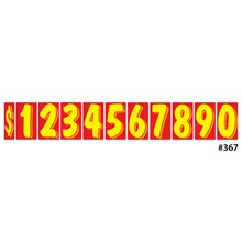 """11 1/2"""" Yellow on Red Windshield Numbers DVT367"""