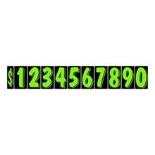 "7 1/2"" Fluorescent Green on Black Windshield Numbers DVT353"