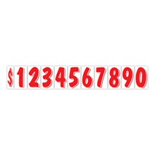 """7 1/2"""" Red on White Windshield Numbers DVT360"""