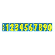 """7 1/2"""" Yellow on Blue Windshield Numbers DVT359"""