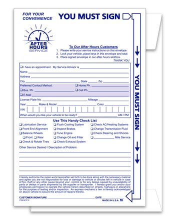 Night Drop / After Hours Envelope DASP-7210