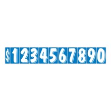 """7 1/2"""" White on Blue Windshield Numbers DVT362"""